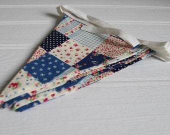 Handmade Blue Patchwork Ditsy Floral Bunting