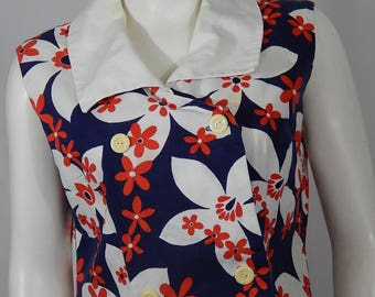 Vintage Mod Dress Medium M 60s Sixties Flower Power Floral Print Red White Blue Sleeveless Large Collar Double Breasted Summer Cotton