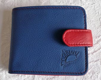 "Wallet ""Cash"" blue and Red grained leather."