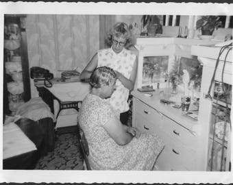 Vintage Photo of Woman Doing Moms Hair in Pincurls, 1950's Original Found Photo, Vernacular Photography