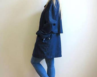 Navy Blue Womens Windbreaker Blue Jacket Oversized Lightweight Parka Womens Outerwear Large Size