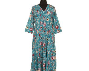 DRESS - All sizes - Turquoise with flower design - 100% cotton