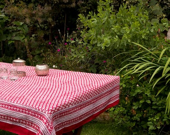 TABLECLOTH FINE COTTON Red with Small Burgundy and Off White motif