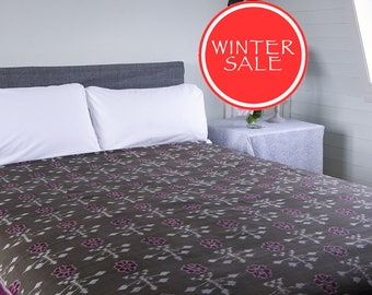 WINTER SALE - IKAT Bedspread - Greyish brown with red pattern