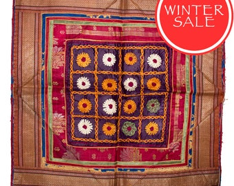 WINTER SALE - Vintage Textile - Vintage Chakla in silk flower design on purple silk