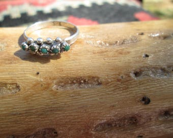 Turquoise and Sterling Snake Eyes Ring Size 6.25