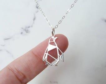 Penguin necklace, sterling silver, origami charm, Christmas gift girl, women stocking stuffer