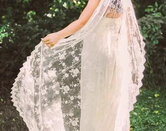 lace mantilla veil, ivory mantilla veil, all over lace veil, eyelash lace veil, ivory lace veil, long lace veil, lace bridal veil -MILAGROS