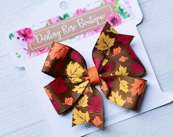 SALE! Fall Autumn Thanksgiving pinwheel hair bow or pigtail set