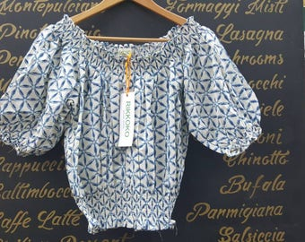 sale-Free Size Blue Flower Cropped Top OFF SHOULDER  Big Sleeves made in Cotton  and Handmade  BLOCK Print