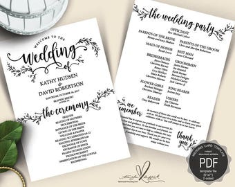 Rustic Wedding Program PDF card template, instant download editable printable, Ceremony order card in calligraphy rustic floral (TED418_5)