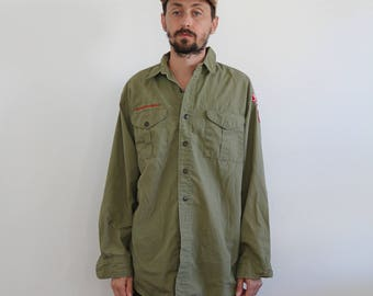 Olive Drab 70s Boy Scout Long Sleeve Shirt Large