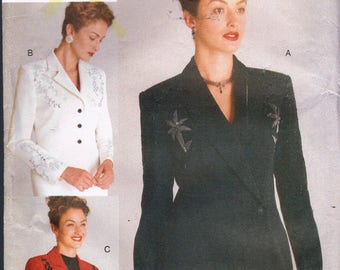 Size 12-16 Misses Jacket Sewing Pattern - Side Button Jacket Pattern - Bolero Jacket Pattern - Suit Jacket Pattern - Vogue 9751
