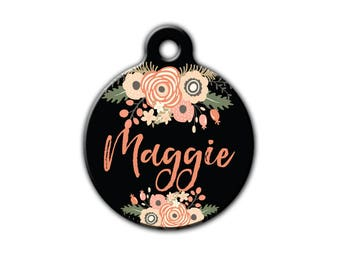 Floral Pet Tag,Personalized Pet tag,Trendy Pet Tag,Summer Pet Tag,Cat ID Tag,Cute Pet Tag,Floral Pet,Dog tag for dogs,Blue Fox Gifts,PET_167