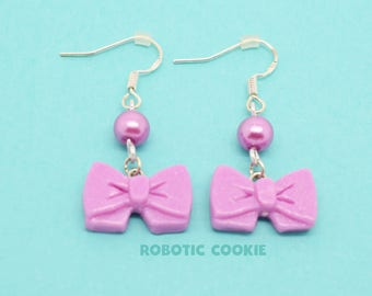 Bow cute earrings polymer clay Sterling Silver