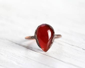 Carnelian Ring Electroformed Ring Copper Jewelry Polished Stone Ring Pear Shaped Cabochon Orange Stone Ring