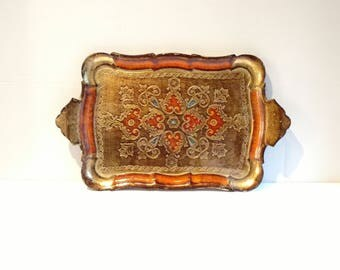 Vintage Italian Florentine Wooden Carved Tray Gold and Orange Painted Wood