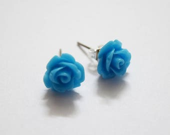 Super Cute Blue Rose Design Silver Plated Stud Earrings
