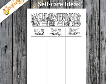 Self-care / Instant Download Printable PDF / Bullet Journal / Planner / Coloring