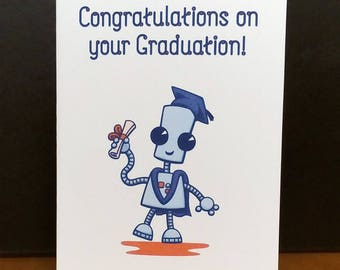 Ned the Robot - Cute Graduation Card