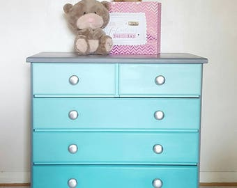 Ombre Turquoise and Mint Chest of Drawers - Nursery Children's Bedroom Furniture - Grey - Silver Handles - Blue