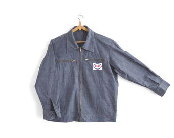 Vintage Gas Station Worker/Chore Jacket - Chambray/Denim - Made in France