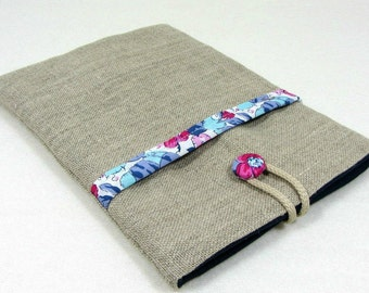 IPad sleeve with pocket,  iPad cover, linen and liberty, kindle voyage case, mini tablet cover
