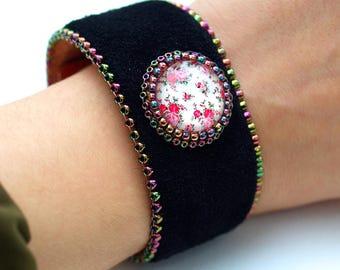Floral Black Leather Cuff - Bohemian Cuff-Statement Boho Bracelet-Enchanted Garden Bracelet-Leather Bracelet