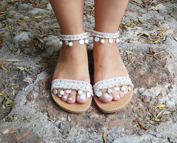Bridal 'Aphrodite' Sandals/Coral Gemstones/White and Gold Lace / Genuine Leather / Slingback Slides Strap / Handmade Leather Sandals