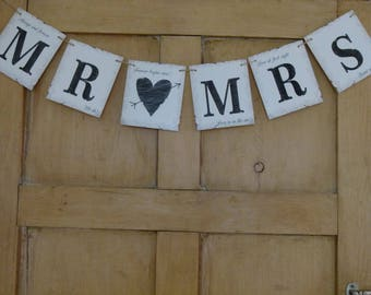 MR & AND MRS Wedding Bunting Vintage Style Card Banner Venue Decoration