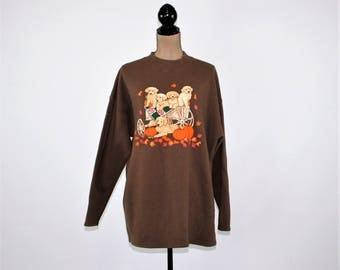 Vintage Slouchy Sweatshirt Women XL Fall Graphic Pumpkin Puppy Dogs Golden Retriever Shirt Novelty 80s 90s Vintage Clothing Womens Clothing