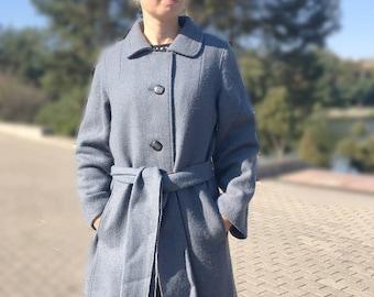 Vintage blue wool coat Soft brushed wool elegant winter coat Size M L