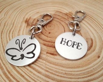 Engraved Semi Colon Butterfly Zipper Pull | Purse Charm | Clip on Charm