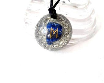 Lapislázuli Orgone Pendant Rune Celtic Ehwaz Pendant Stones Rune Pendant Rune Necklace Spiritual Gift Orgone Talisman Crystal Healing Amulet