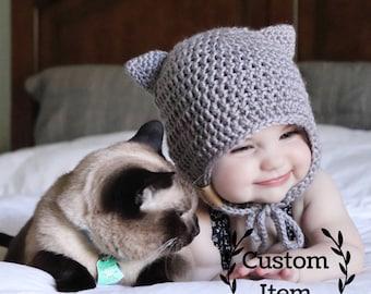 Kitty Hat / Cat Hat / Beanie / Bonnet / Photo Prop