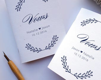 Custom Vow Books, Vows Notebook, Set of Vow Books, Wedding Vow Booklet, Vow Renewal, Set of 2 Books