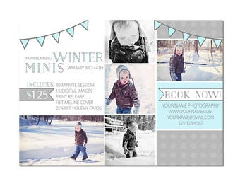 Mini Photography Sessions Template  - Modern -  Winter - Children - Snow - Portraits - 5x7 - Flyer - Digital