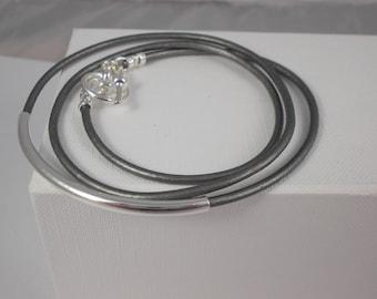 Leather bracelet,metallic leather. wrap bracelet, tube bracelet, bar bracelet. leather wrap, metallic silver,