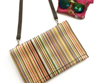 Multicolor leather envelope bag; Multicolor pochette; Rainbow colours pochette; Gift for her