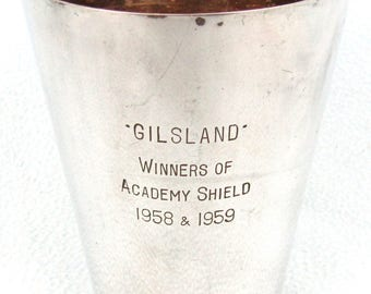 Vintage Silver Plated Tankard, Presentation Tankard, Gilsland, Academy Shield, Mid Century, Handled Cup, Distressed Look, Silver Plate, Chic