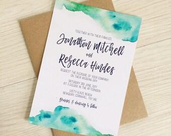 Beach wedding invitation - Tropical wedding invitation - Destination wedding invitation