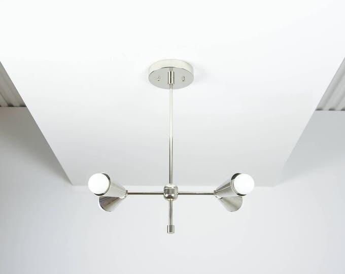 Free Shipping! Modern Chandelier Silver Polished Nickel 2 Arm 4 Light Pinwheel Bulb Sputnik Mid Century Industrial Hanging Light UL Listed