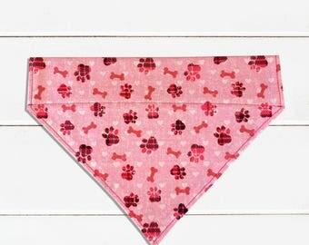 Pink Bones Dog Bandana, Over-the-collar Pet Scarf, Pink Bones Pet Bandana, Pink Dog Bandana