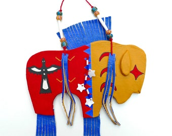 Buffalo spirit bison native american Indian ghost dance pattern moon star bird symbol Great Plains western southwest wall hanging beads clay