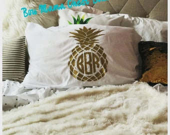 Pineapple Monogram Personalized Pillowcase