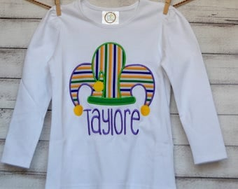 Personalized Mardi Gras Jester Hat Applique Shirt or Onesie Girl or Boy