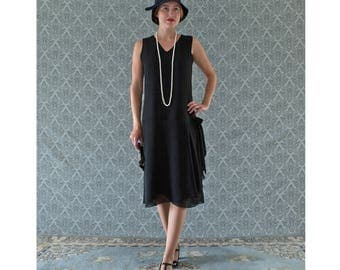 V neck black flapper dress with drape and bow, black Great Gatsby dress, 1920s flapper dress, Downton Abbey evening dress