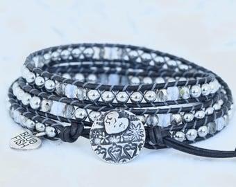 Sparkly Silver and Black Wrap Bracelet, Black Leather Wrap, Wrap Bracelet, Silver Heart Button, Boho Wrap Bracelet