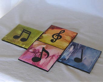 Music Notes Alcohol Ink Acrylic Coasters - 4 Ceramic Music Notes Painted Coasters - Alcohol Ink Painted Drink Coasters -  Free Ship in U.S
