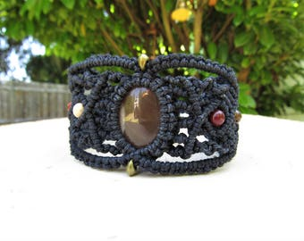 Handmade Macrame Bracelet - Mookaite Bracelet - Hemp Jewelry - Hemp Bracelet - Bohemian Bracelet - Bohemian Jewelry - FREE SHIPPING